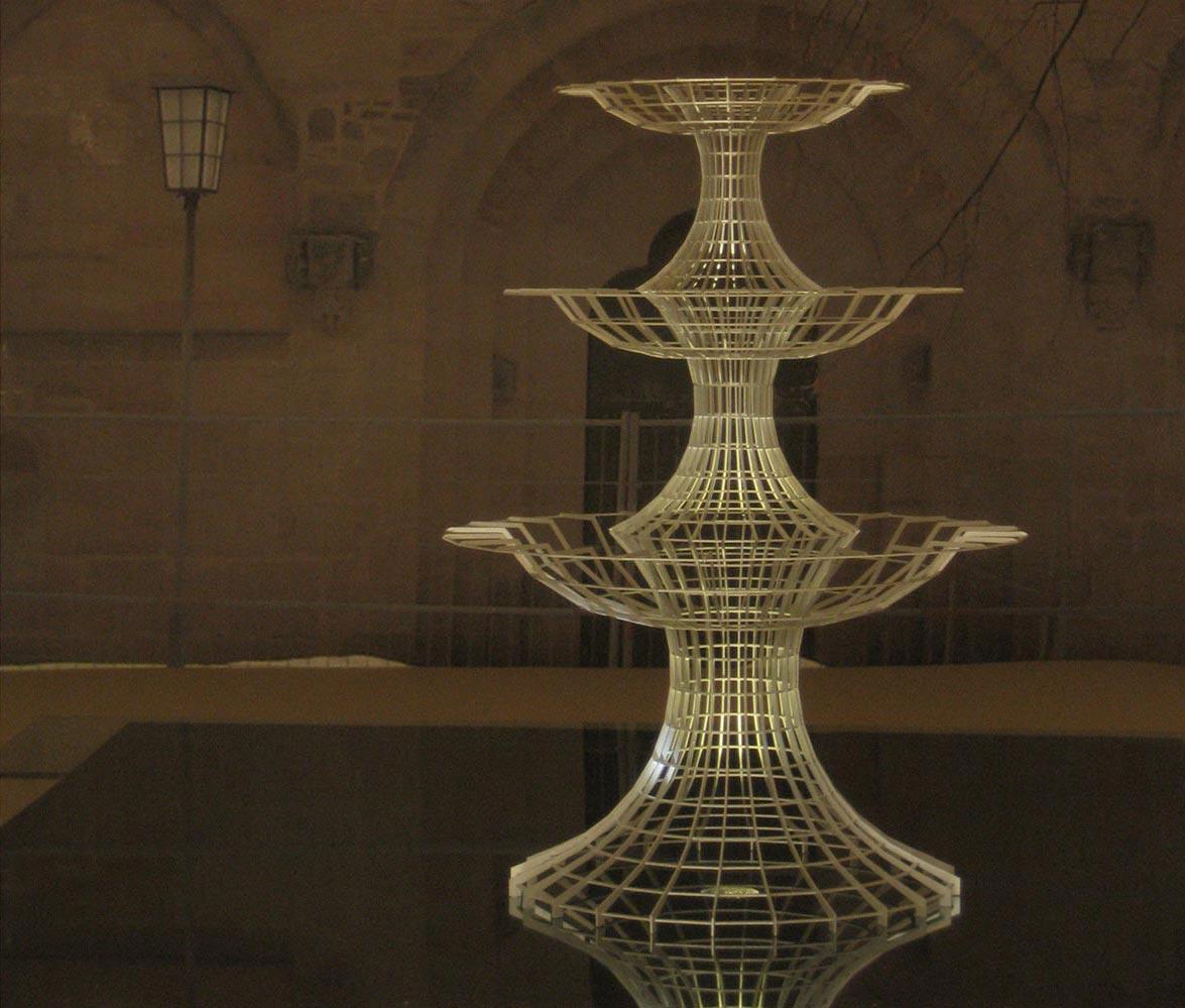 Kunst am Bau Brunnen Anmutung bei Nacht
