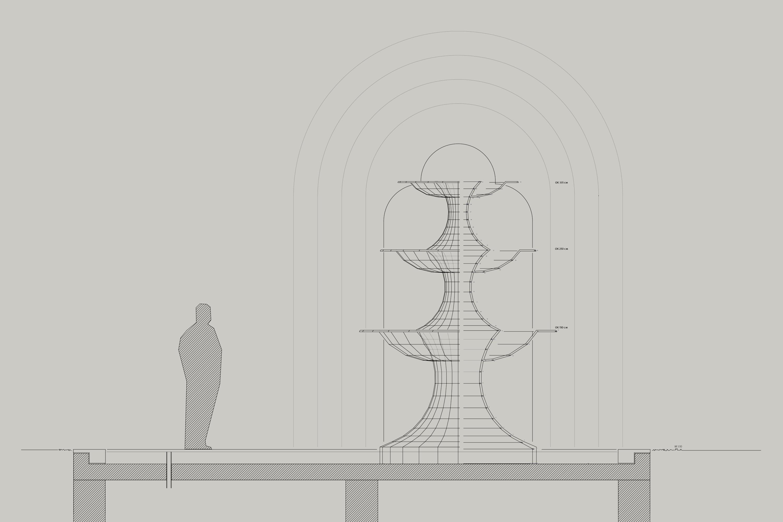 Zeichnung Dreischalen-Brunnen