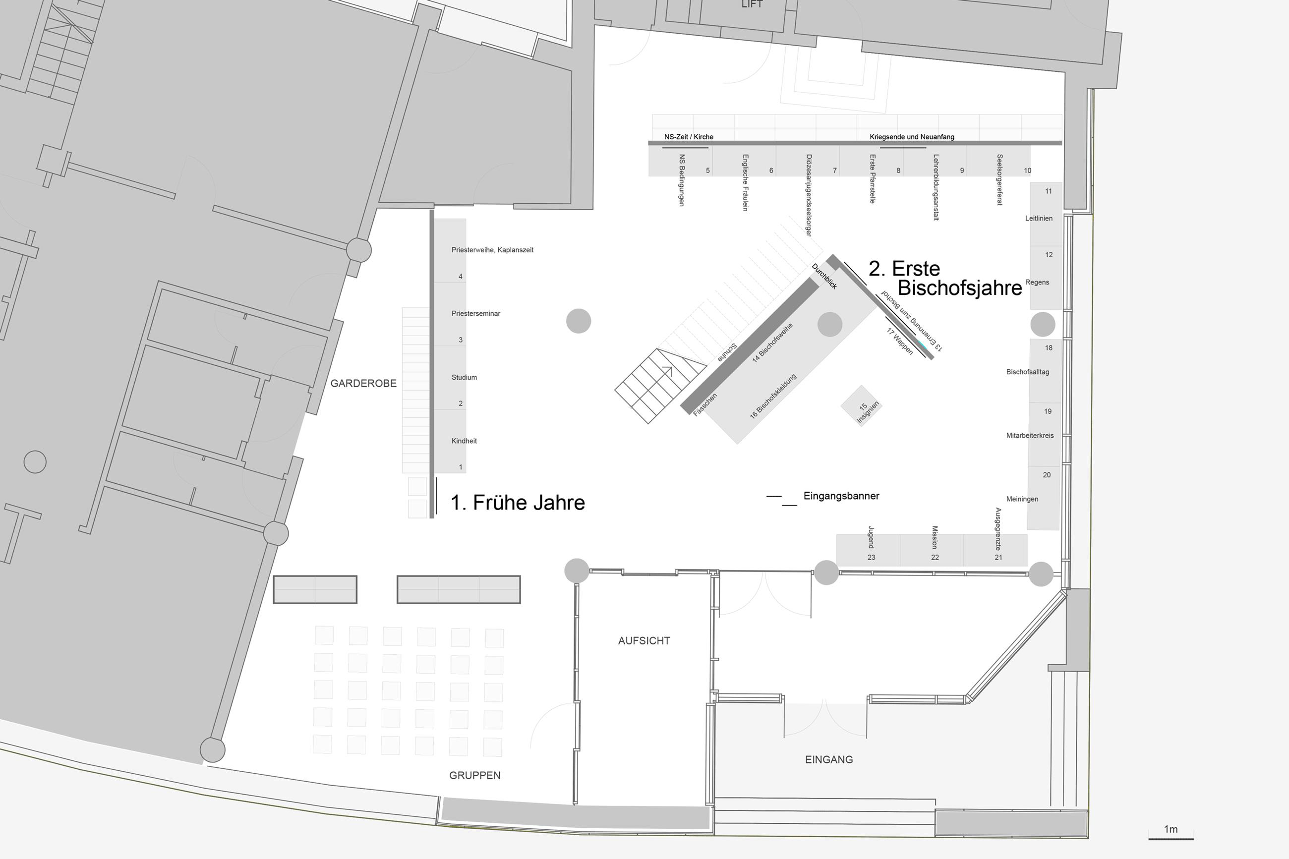 Ausstellungsgestaltung Stangl Plan Erdgeschoss