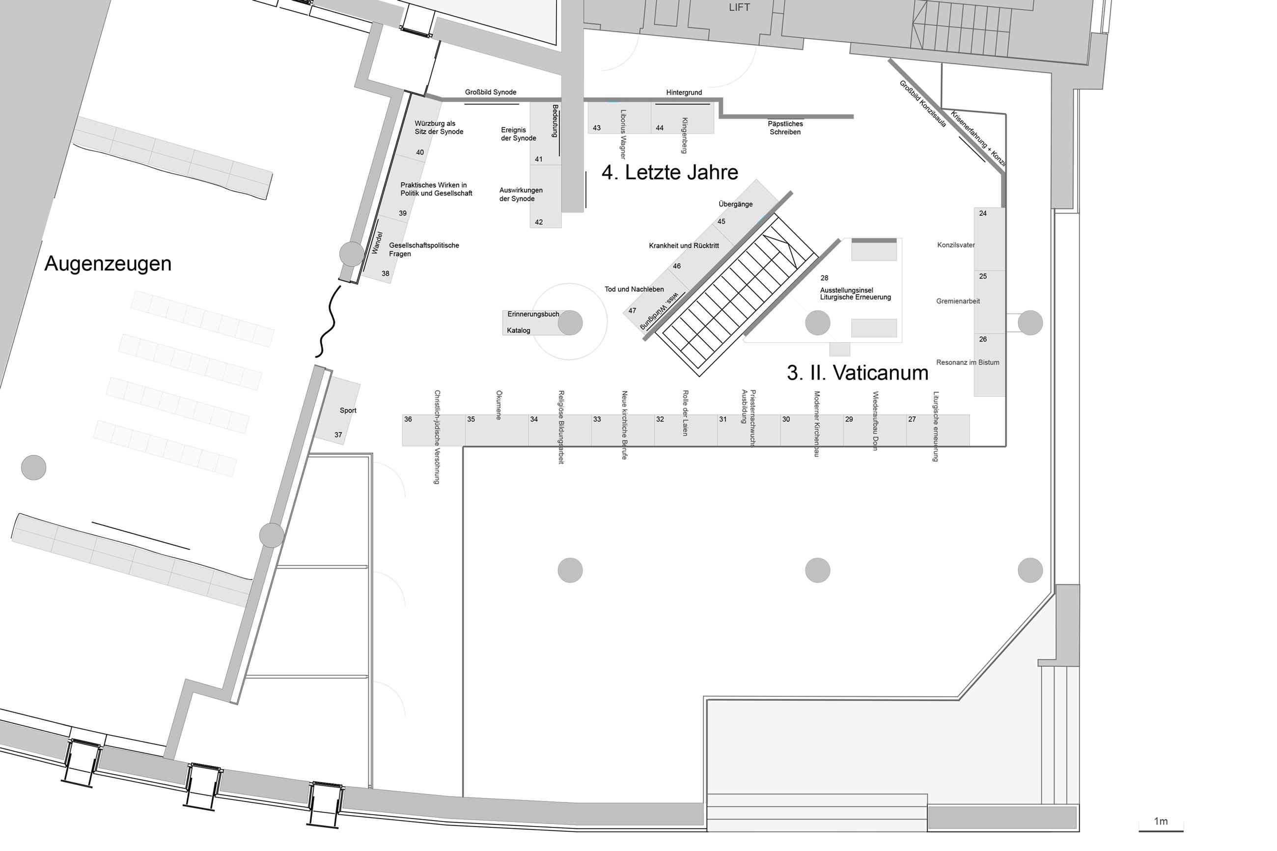 Ausstellungsgestaltung Stangl Plan Obergeschoss