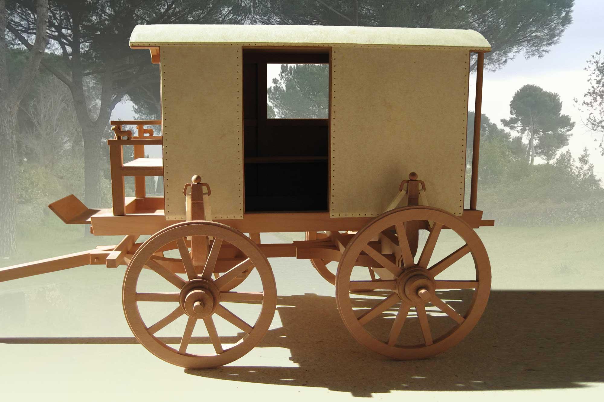 Anschauungsmodell römischer Reisewagen im Gäubodenmuseum