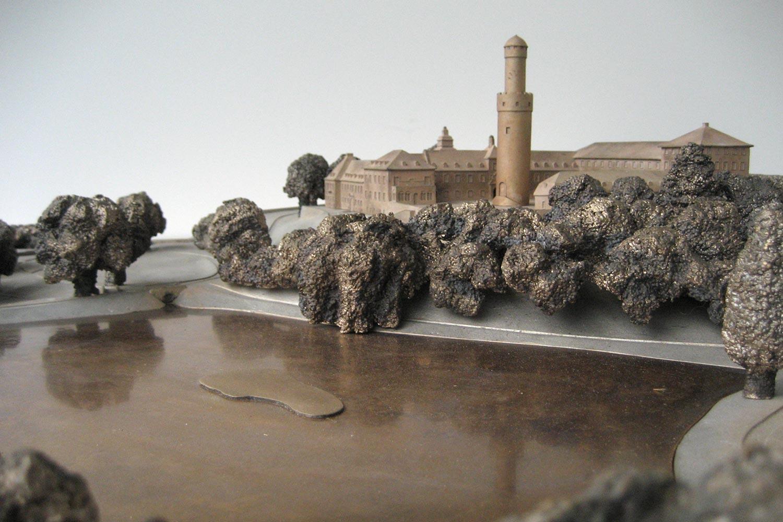 Tastmodell Schloss Bad Homburg, Ausschnitt mit See