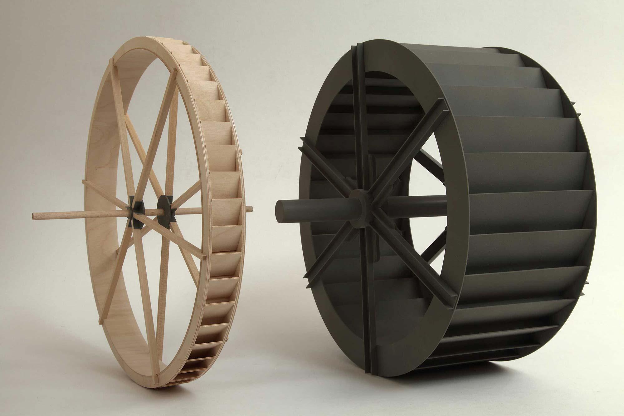 Modellszene mit zwei Wasserrädern