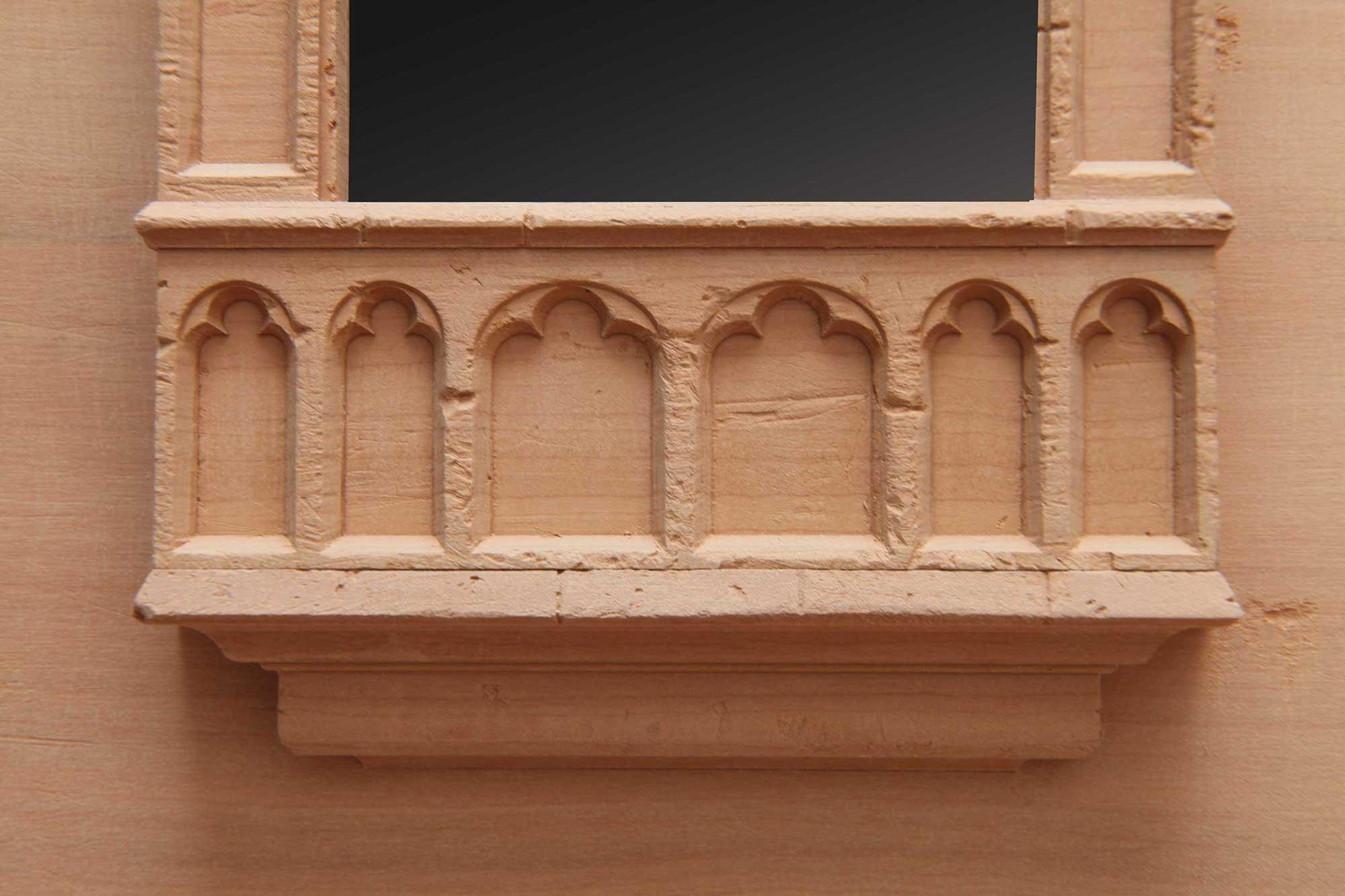 Architekturmodell Modellbau Fassade Burg Cadolzburg um 1945 Detail