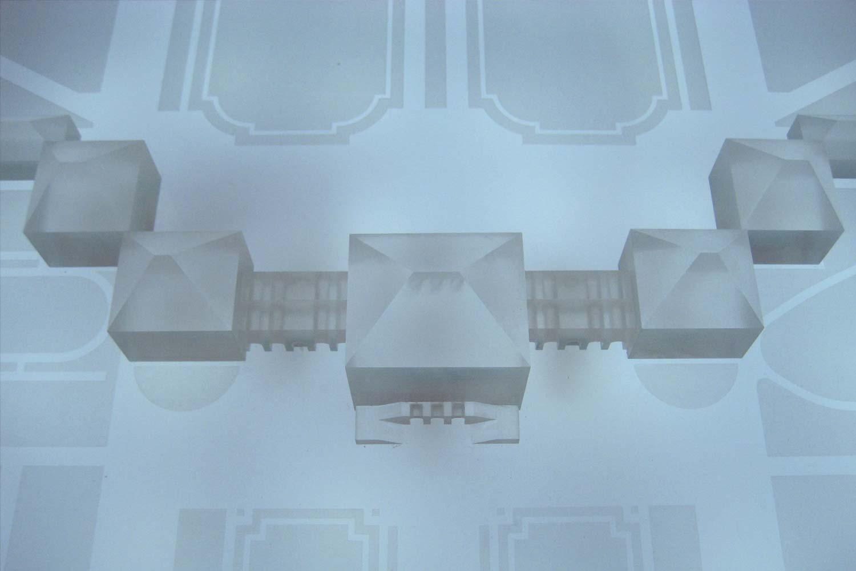 Interaktives Architekturmodell der Schlossanlage ohne Licht