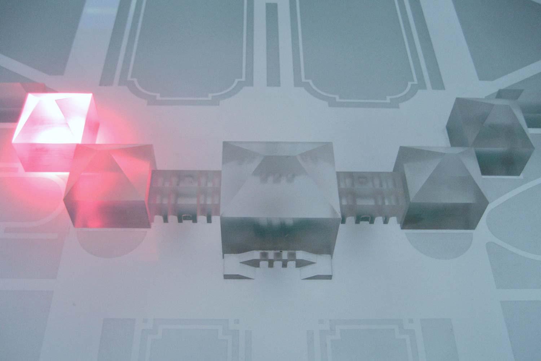 Beleuchtetes Gebäudeteil im interaktiven Modell