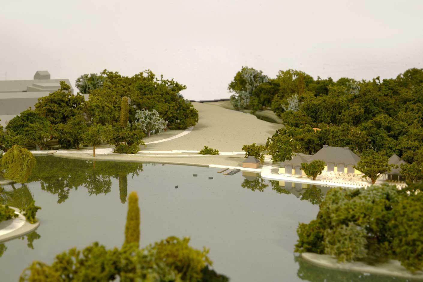 Gartenmodell des Englischen Gartens, Blick auf Seehaus