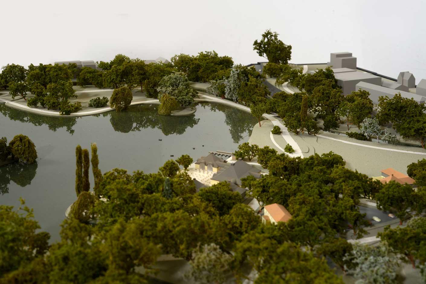 Gartenmodell des Englischen Gartens, Detail Kleinhesseloher See