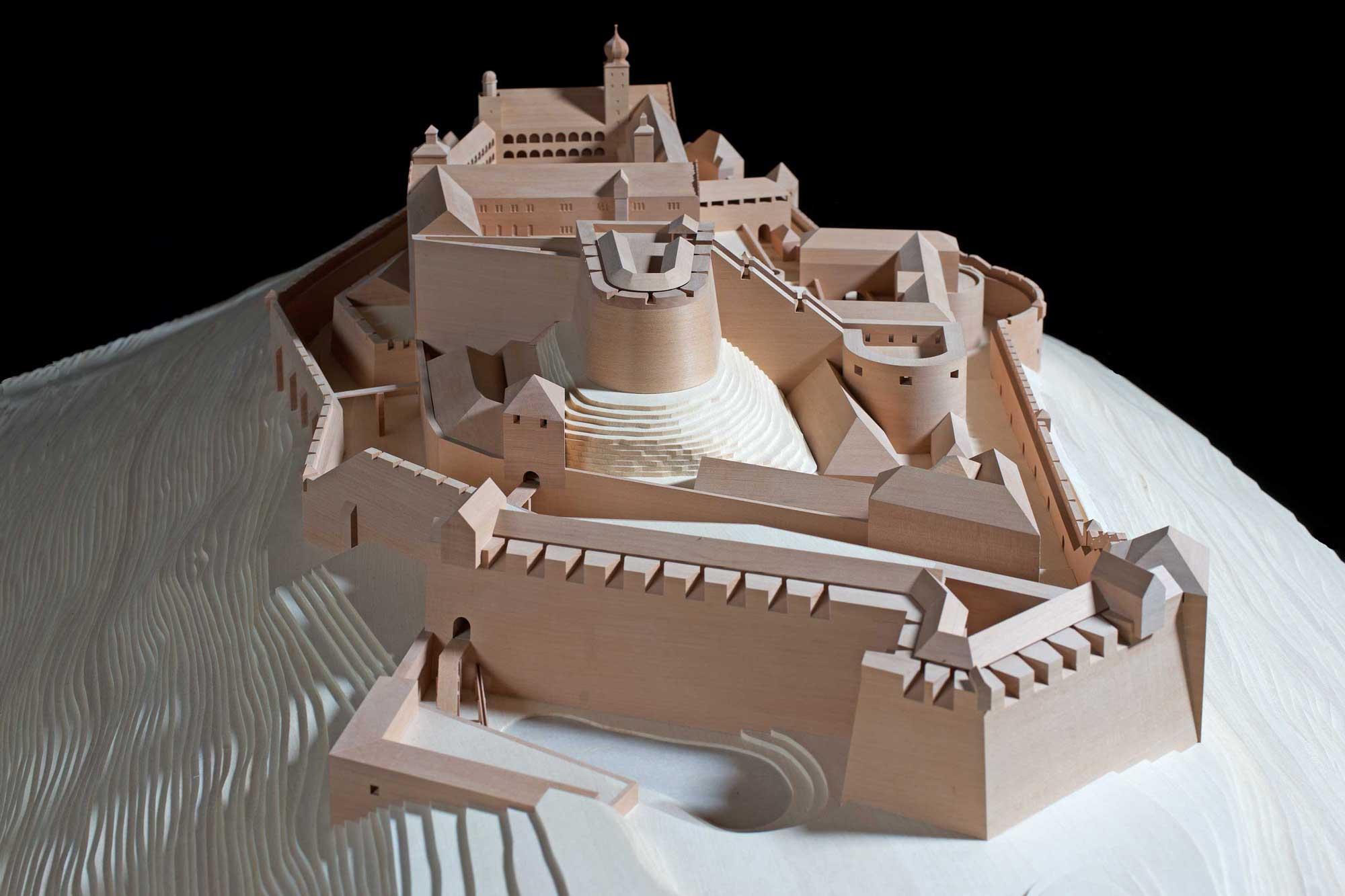 Anschauungsmodell aus Holz der Plassenburg, Ansicht