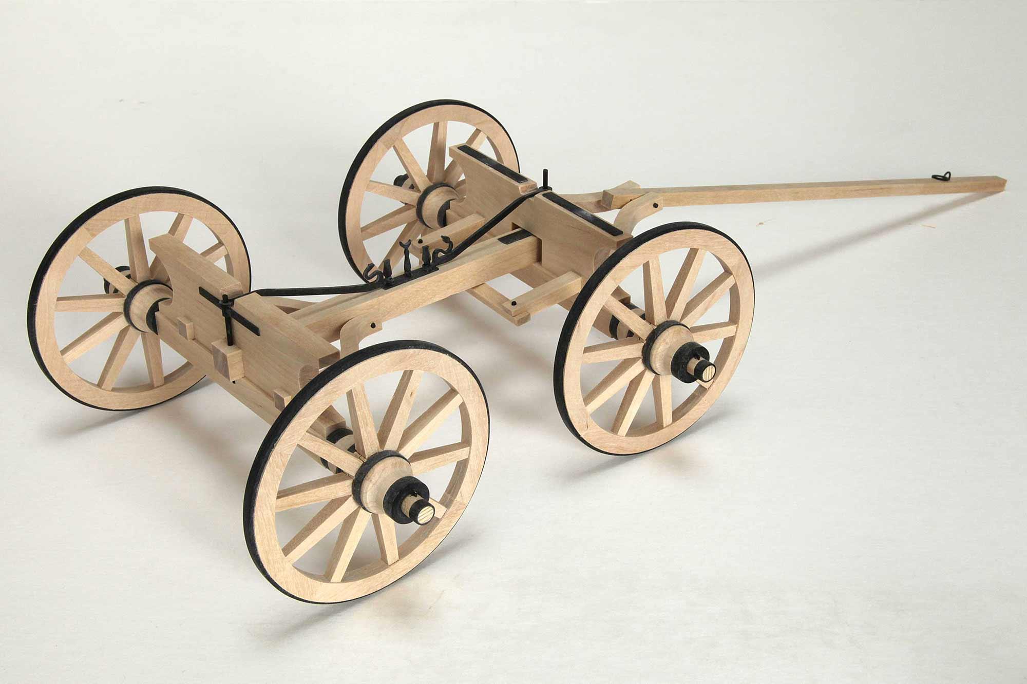 Anschauungsmodell römischer Transportwagen - Fahrwerk