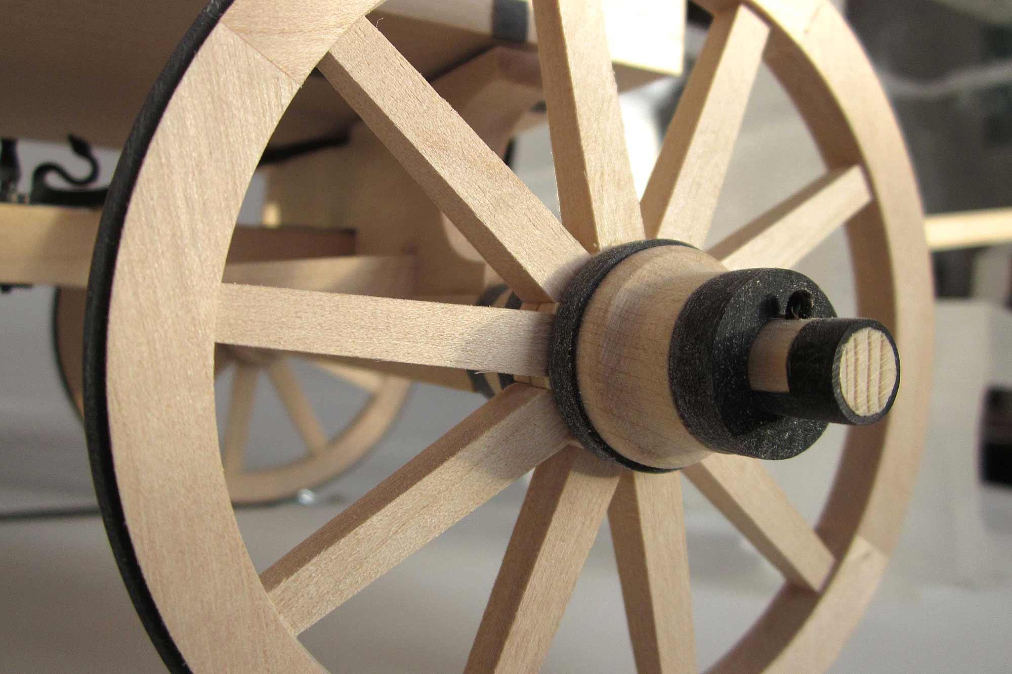 Anschauungsmodell römischer Transportwagen - Radnabe mit Splint