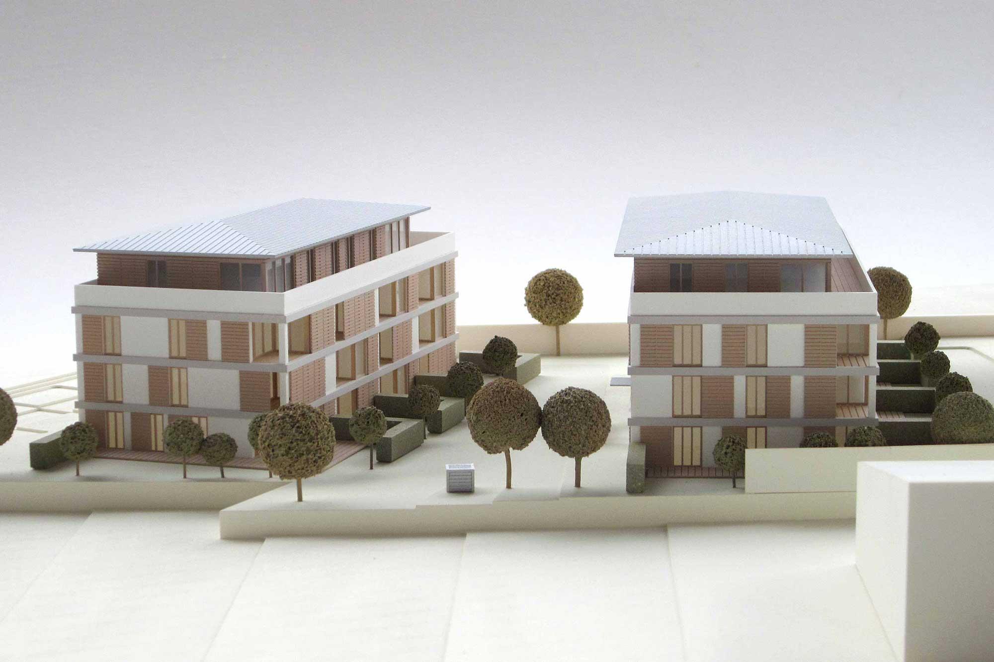 Modellbau Architektur - Architekturmodell - Präsentationsmodell Immobilienprojekt Holzkirchen, Detail