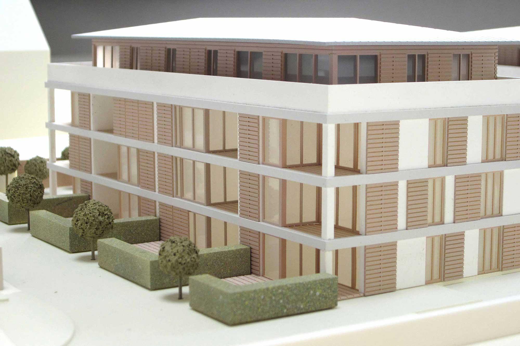 Präsentationsmodell Immobilienprojekt Holzkirchen, einzelobjekt