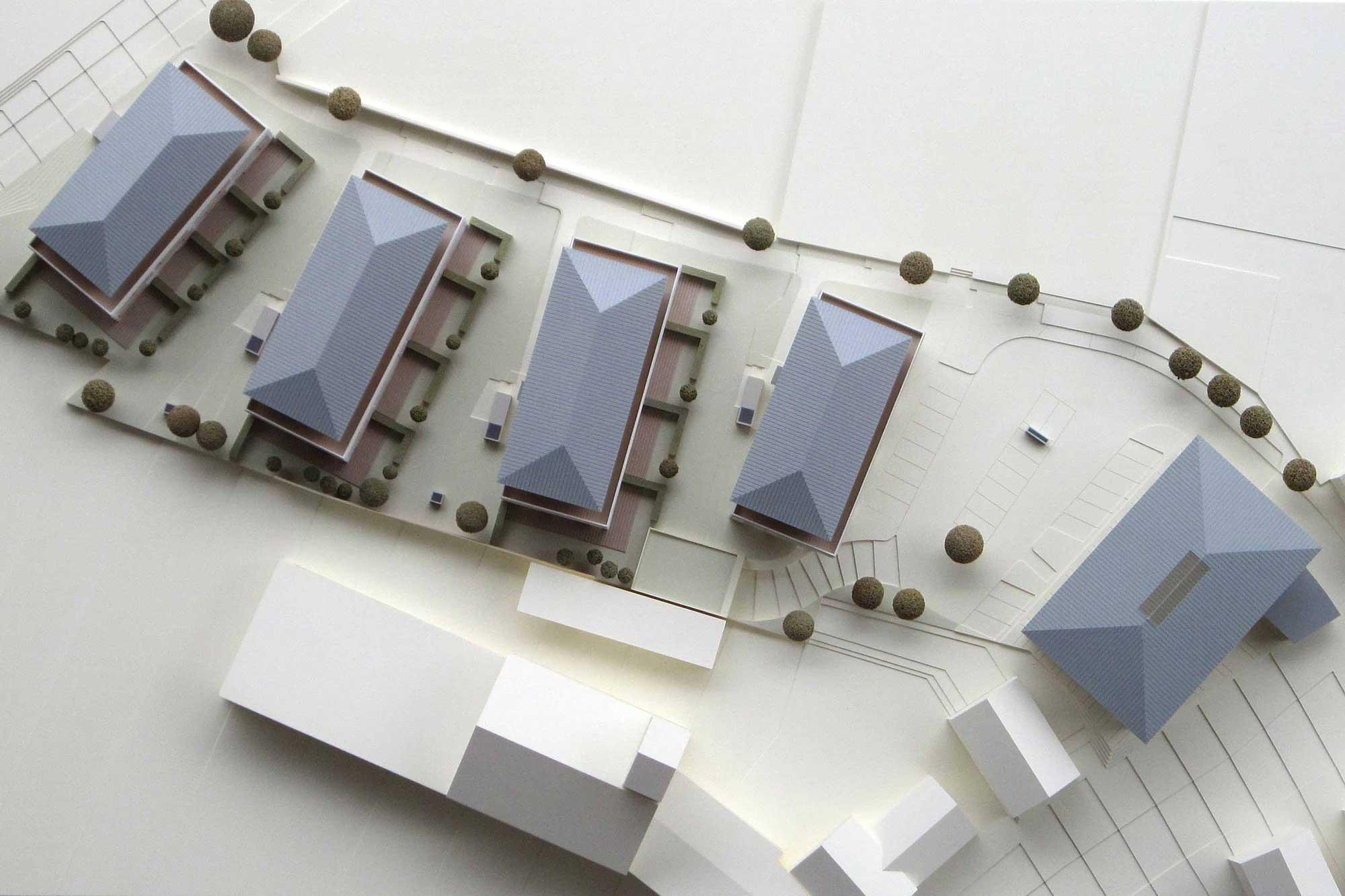 Präsentationsmodell Immobilienprojekt Holzkirchen, Aufsicht