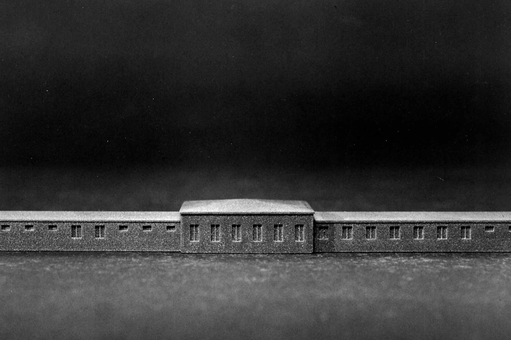 Verhör im Licht, Fotodokumentation Modell, Bunker KZ Dachau