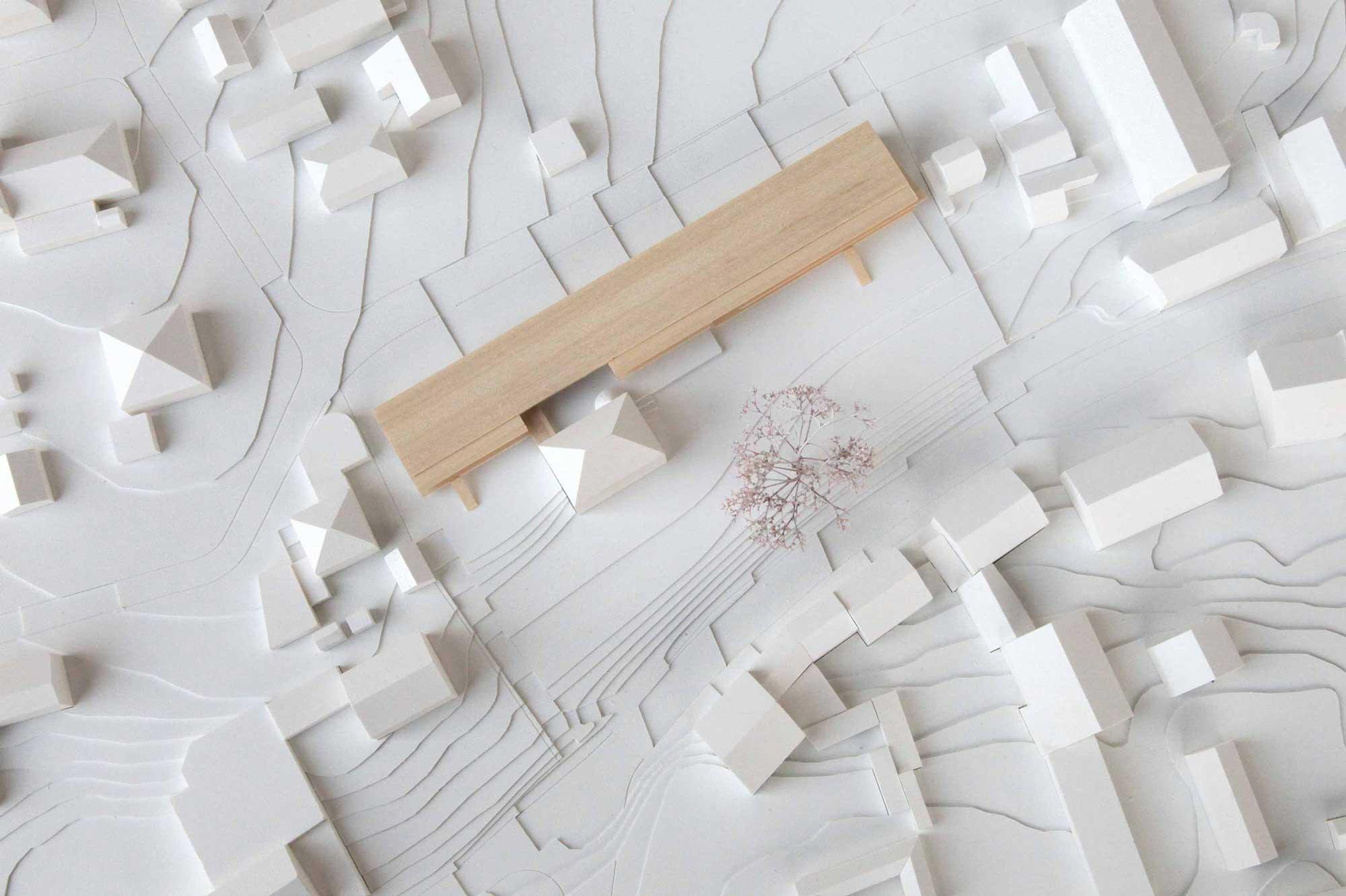 Wettbewerbsmodell Holz Familienhaus EbersbergAufsicht