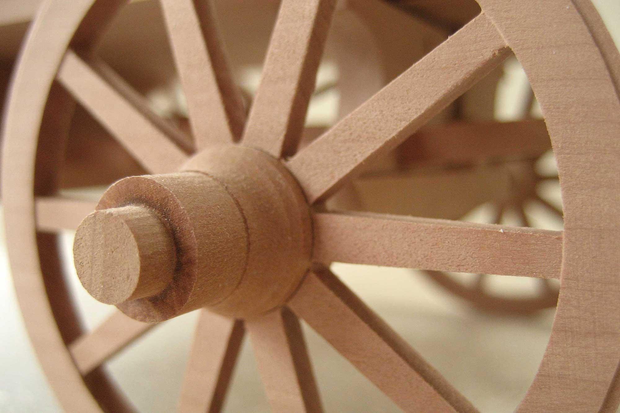 Detail Rad des Anschauungsmodell römischer Transportwagen