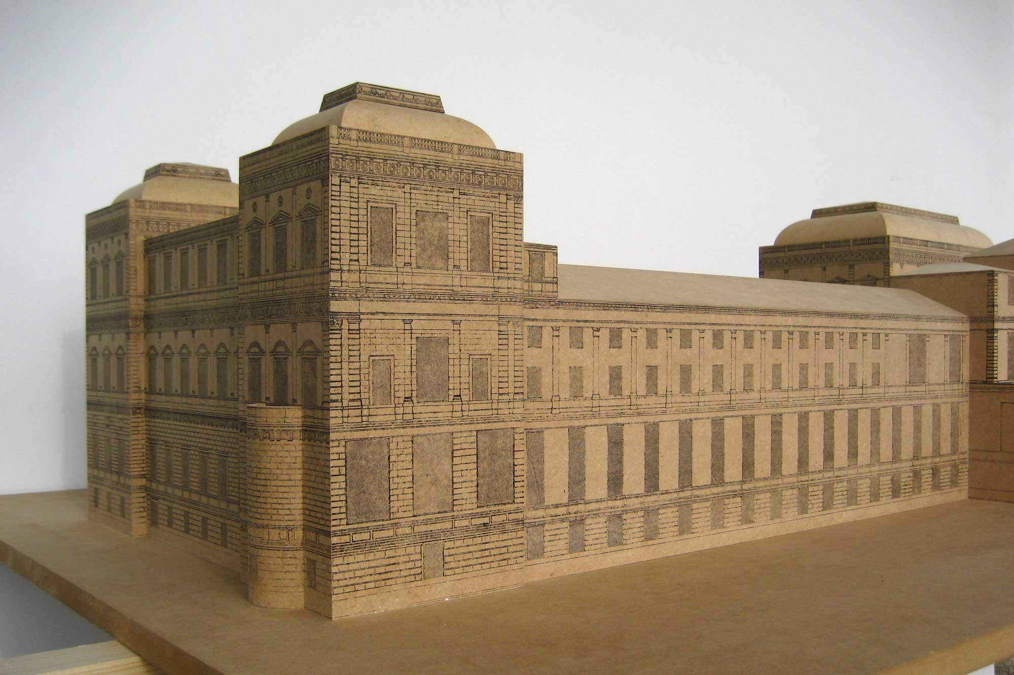 Architekturmodell der Akademie der Bildenden Künste München - Gartenseite